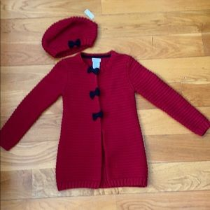 Brand new knit jacket with matching beret
